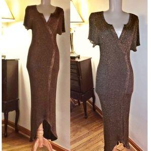 Bronze high/low light knit maxi sweater dress